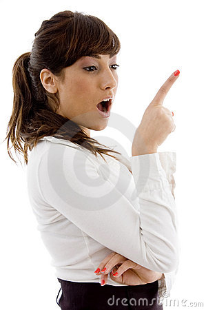 Side view of surprised female attorney pointing