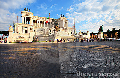 Side view to Piazza Venezia in Rome, Italy Editorial Image
