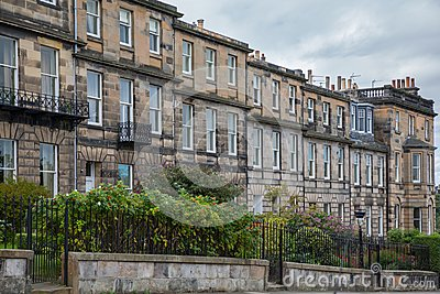 Side view of vintage facades in Edinburgh