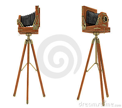 Side views of vintage large format camera