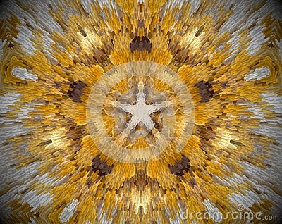 5 sided star abstract extrude mandala Stock Photo