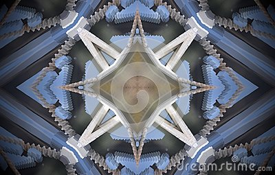 4 sided star metal structure extruded mandala Stock Photo