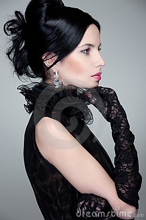 Sideview of beautiful brunette
