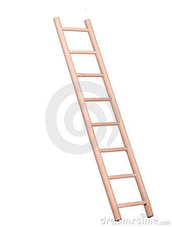 Sideview of isolated wooden ladder