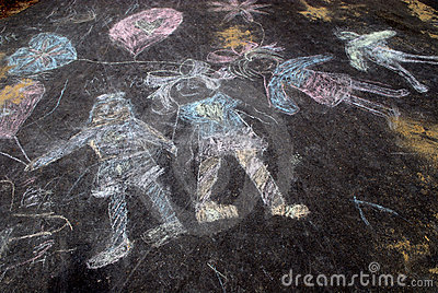 Sidewalk chalk of happy kids