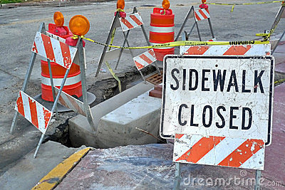 Sidewalk Closed Sign Stock Images - Image: 21874934