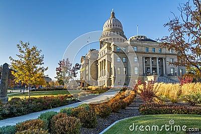 Sidewalk leads to the Idaho state capital