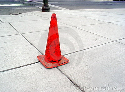 Sidewalk and Orange Cone