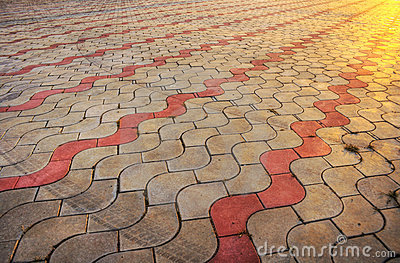 Sidewalk pile pattern in sunset - HDR picture