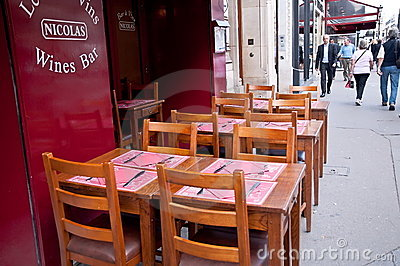 Sidewalk restaurant in Paris Editorial Photo