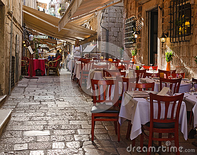 Sidewalk restaurants, Dubrovnik Editorial Image
