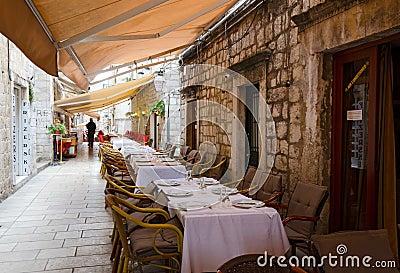 Sidewalk restaurants, Dubrovnik Editorial Stock Image