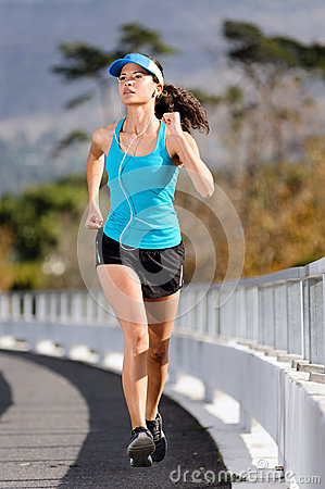 Sidewalk running woman