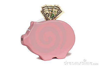 Sideways Pig Bank With Copy Space