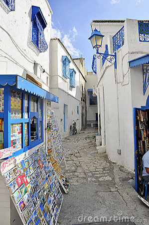 Sidi Bou Said street with shops and blue colors Editorial Photography
