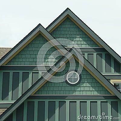 Siding дома деталей зеленый домашний