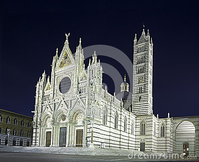 Siena Cathedral Duomo landmark, night photo. Italy