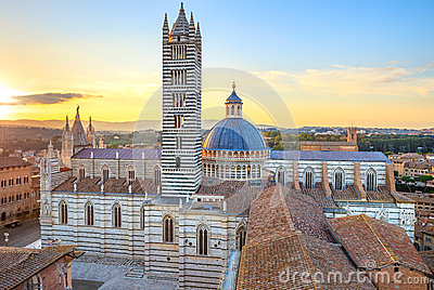 Siena sunset view. Cathedral landmark. Tuscany,