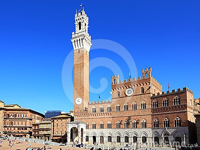 Siena, Tuscany - Piazza del campo. Italy Editorial Photo