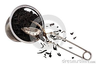 Sieve for tea on white