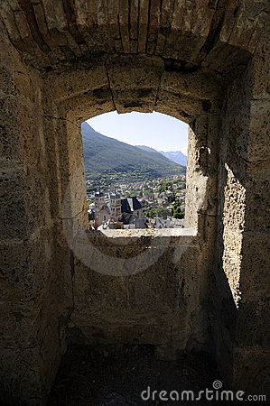 Sight over Briançon seen from fort, French Alps