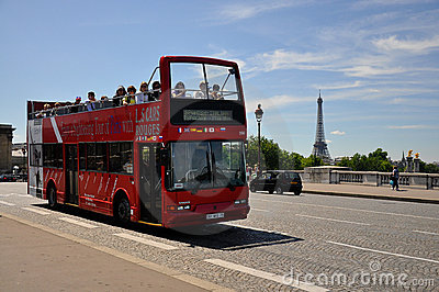 Sight seeing bus tour paris Editorial Stock Photo