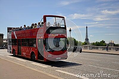Sight seeing bus tour paris Editorial Stock Photo