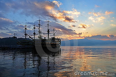 Sight seeing ships on Lake Ashi, Japan