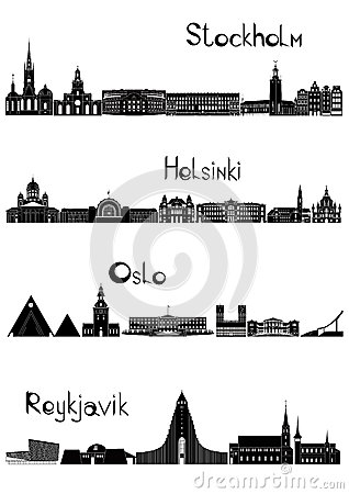 Sights of Stockholm, Oslo, Reykjavik and Helsinki, b-w vector