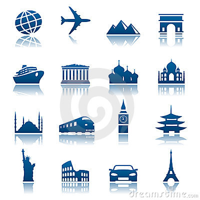 Free Sights & Transportation Icons Royalty Free Stock Photography - 12356817