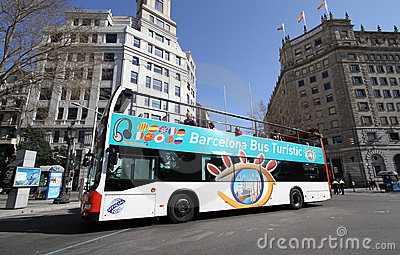 Sightseeing Bus in Barcelona, Spain Editorial Photography