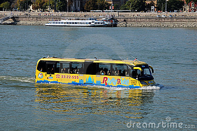 Sightseeing bus in the Danube River Editorial Photo