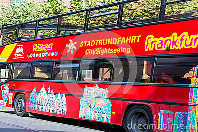 Sightseeing Bus in Frankfurt, Germany Editorial Stock Photo