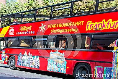 Sightseeing Bus in Frankfurt, Germany Editorial Stock Photo