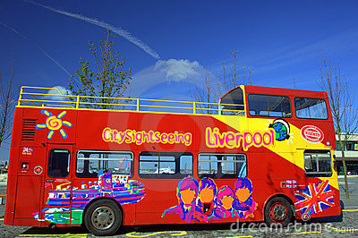 Sightseeing bus in Liverpool Editorial Stock Image