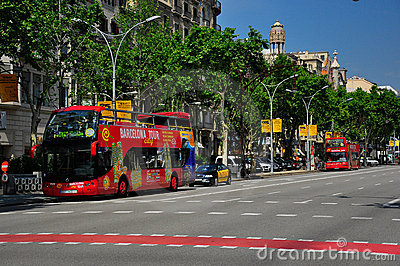 Sightseeing bus tour in barcelona Editorial Stock Image