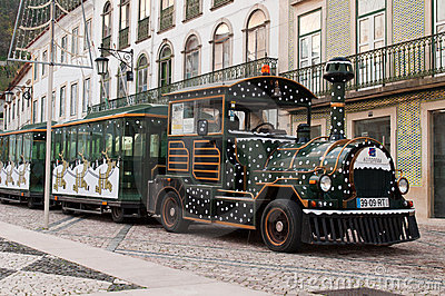 Sightseeing car train in Tomar Editorial Stock Photo