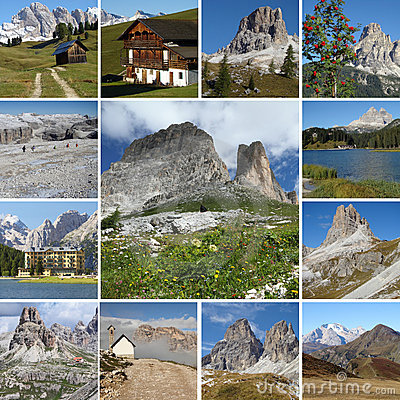 Sightseeing collage of Dolomiti mountains in Italy