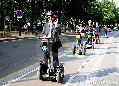 Sightseeing   in Paris Gyropode Segway Editorial Stock Image