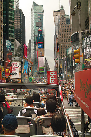 Sightseeing Tour Bus in Tmes Square New York USA Editorial Image