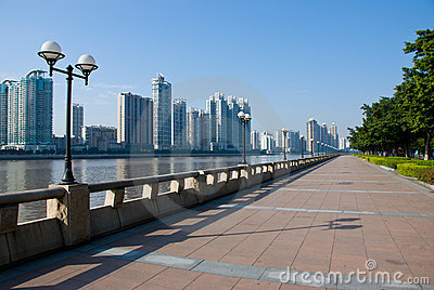 Sightseeing walkway and cityscape