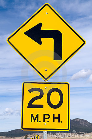 Sign for 20 MPH Curve