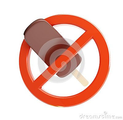 Sign ban on ice cream on a white background