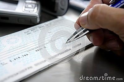 Sign a bank check
