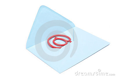 At sign in blue envelope