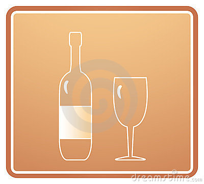 Sign with bottle and wineglass