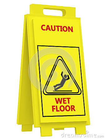 Sign caution wet floor