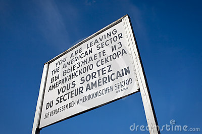 Sign at Checkpoint Charlie that divided berlin