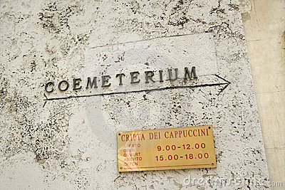 Sign for coemeterium in Rome, Italy.