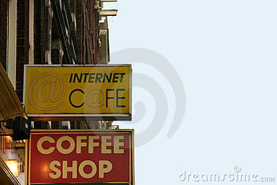 Sign coffeeshop and internet